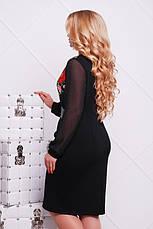 Платье женское трикотажное с принтом маки размеры: xl,2xl,3xl, фото 2