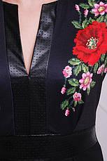 Платье женское трикотажное с принтом маки размеры: xl,2xl,3xl, фото 3
