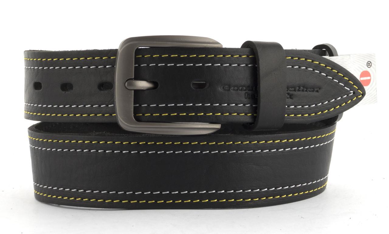 Качественный кожаный мужской ремень высокого качества MASCO 4 см Украина (103717) черный