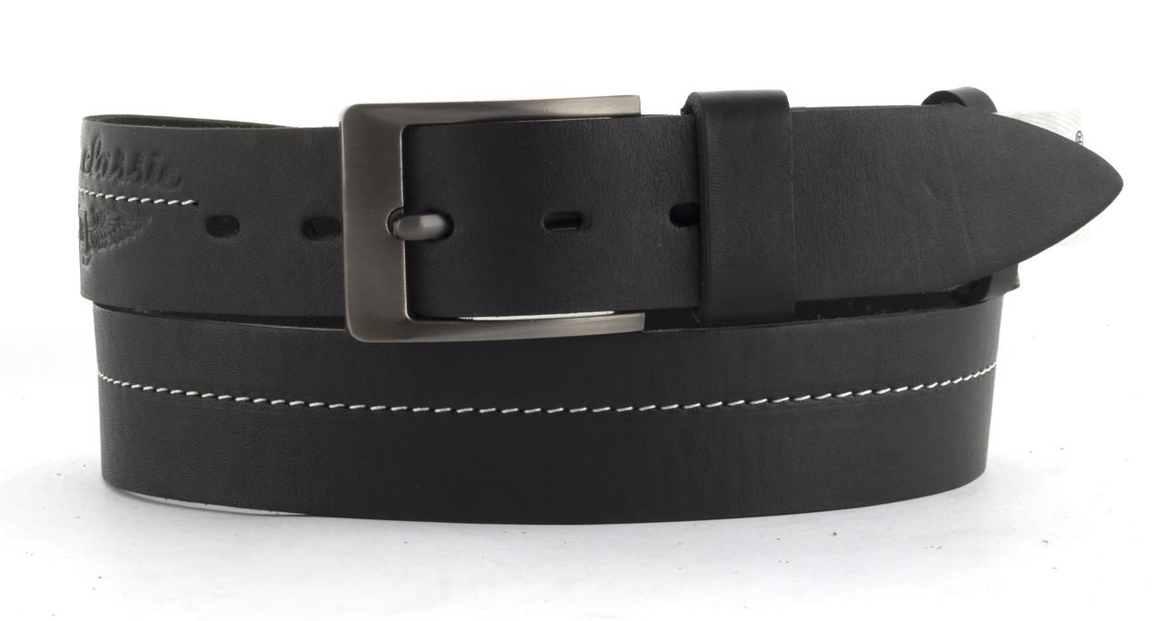 Качественный кожаный мужской ремень высокого качества MASCO 4 см Украина (103719) черный