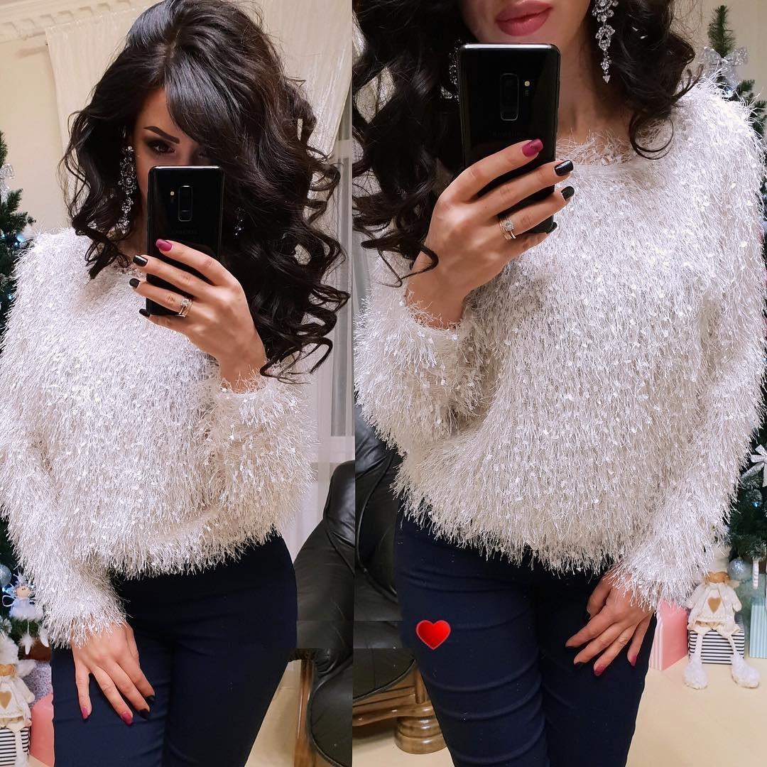 Женский свитер пушистая травка белый
