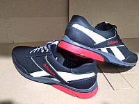 Мужские кроссовки Reebok больших размеров кожа синие Re0020