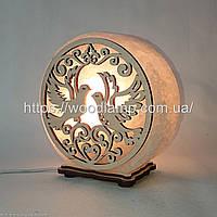 Соляная лампа круглая Голуби
