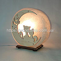 Соляная лампа круглая Коты на луне