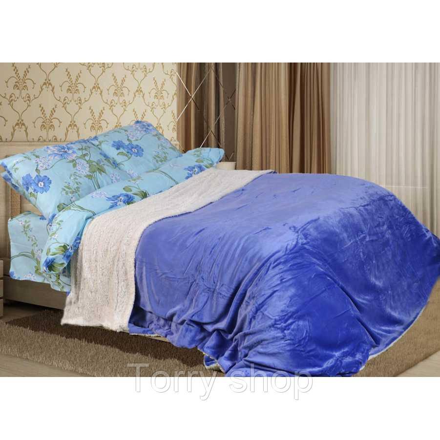 Покрывало короткий ворс плюс барашек - Синий