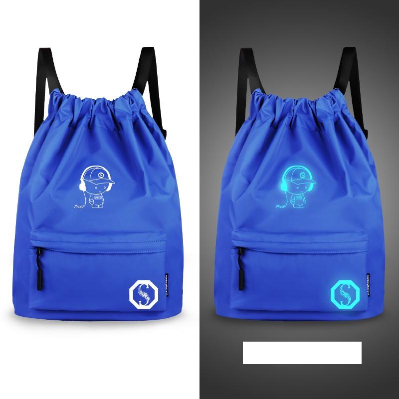 Рюкзак-мешок спортивный синий из водоотталкивающей ткани Music, который светится в темноте
