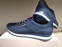 Мужские кроссовки больших размеров кожа синие C0031