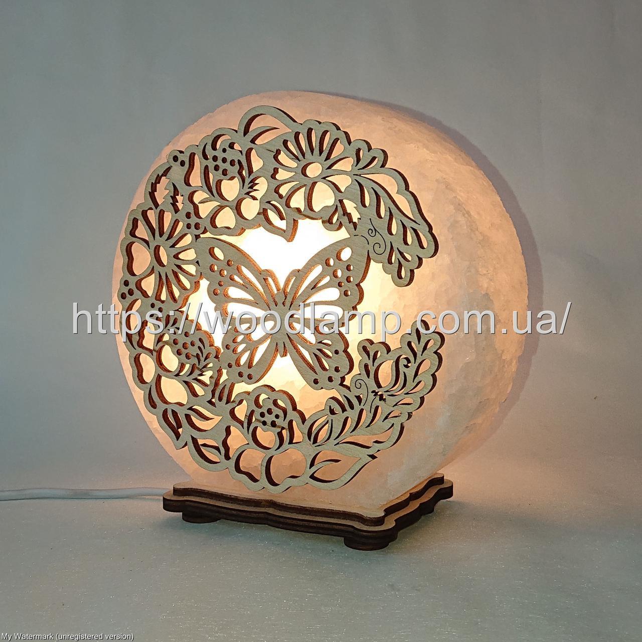 Соляная лампа круглая Бабочка в цветах