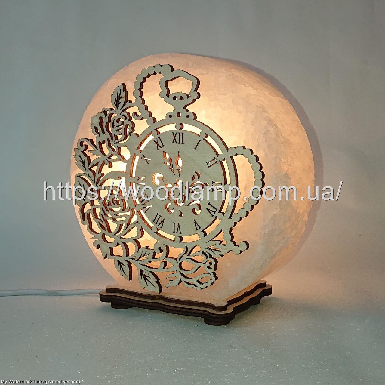 Соляная лампа круглая Часы и розы