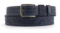 Качественный кожаный мужской ремень высокого качества MASCO 4 см Украина (103678) синий