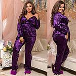 """Костюм домашний пижама тройка (халат,штаны,майка) """"Велюр муар и итальянское кружево"""" большие размеры, фото 6"""