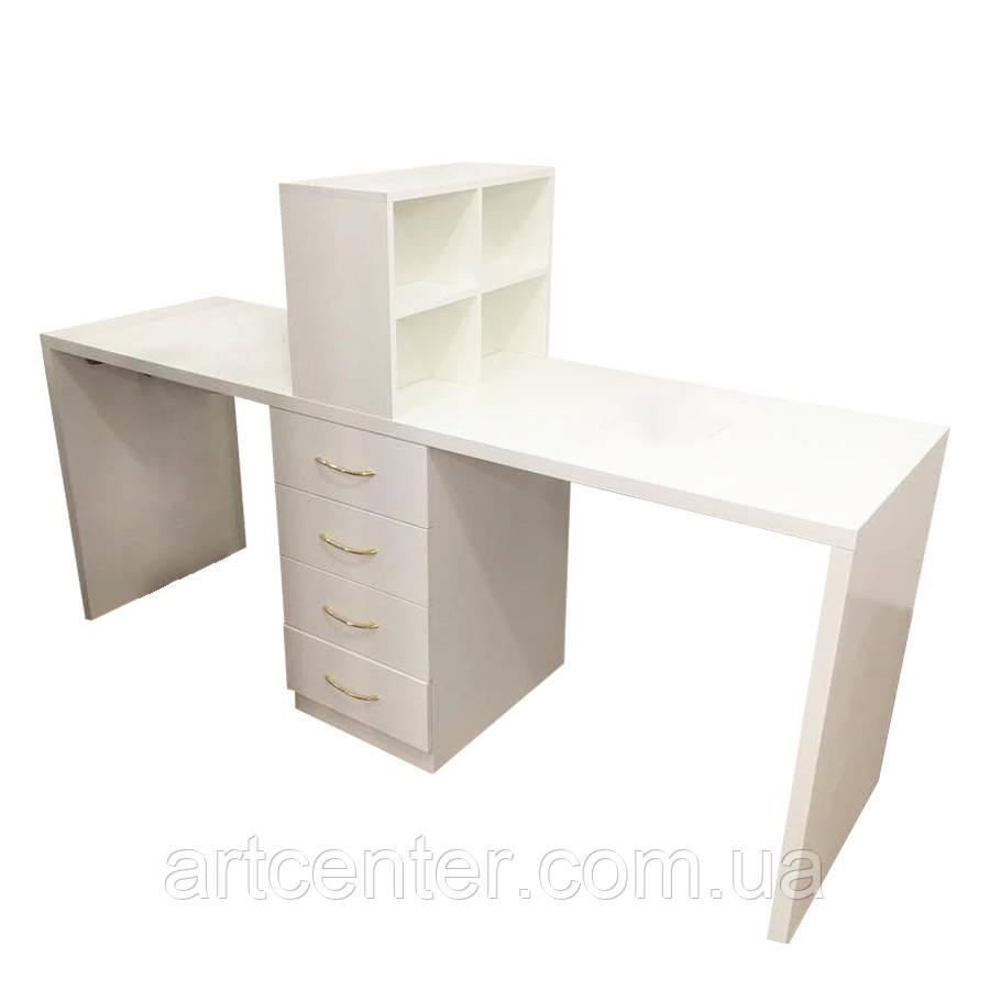 Зручний манікюрний стіл для двох майстрів, стіл для манікюру з ящиками і полицями