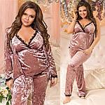 """Костюм домашний пижама тройка (халат,штаны,майка) """"Велюр муар и итальянское кружево"""" большие размеры, фото 10"""