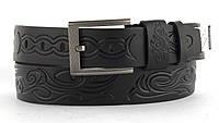 Качественный кожаный мужской ремень высокого качества MASCO 4 см Украина (103680) черный