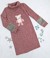 """Платье теплое на девочку """"Мишка"""", размер 140-158, розовый, фото 1"""