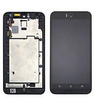 Дисплей для Asus ZenFone Selfie (ZD551KL) + touchscreen, черный, с передней панелью, оригинал PRC