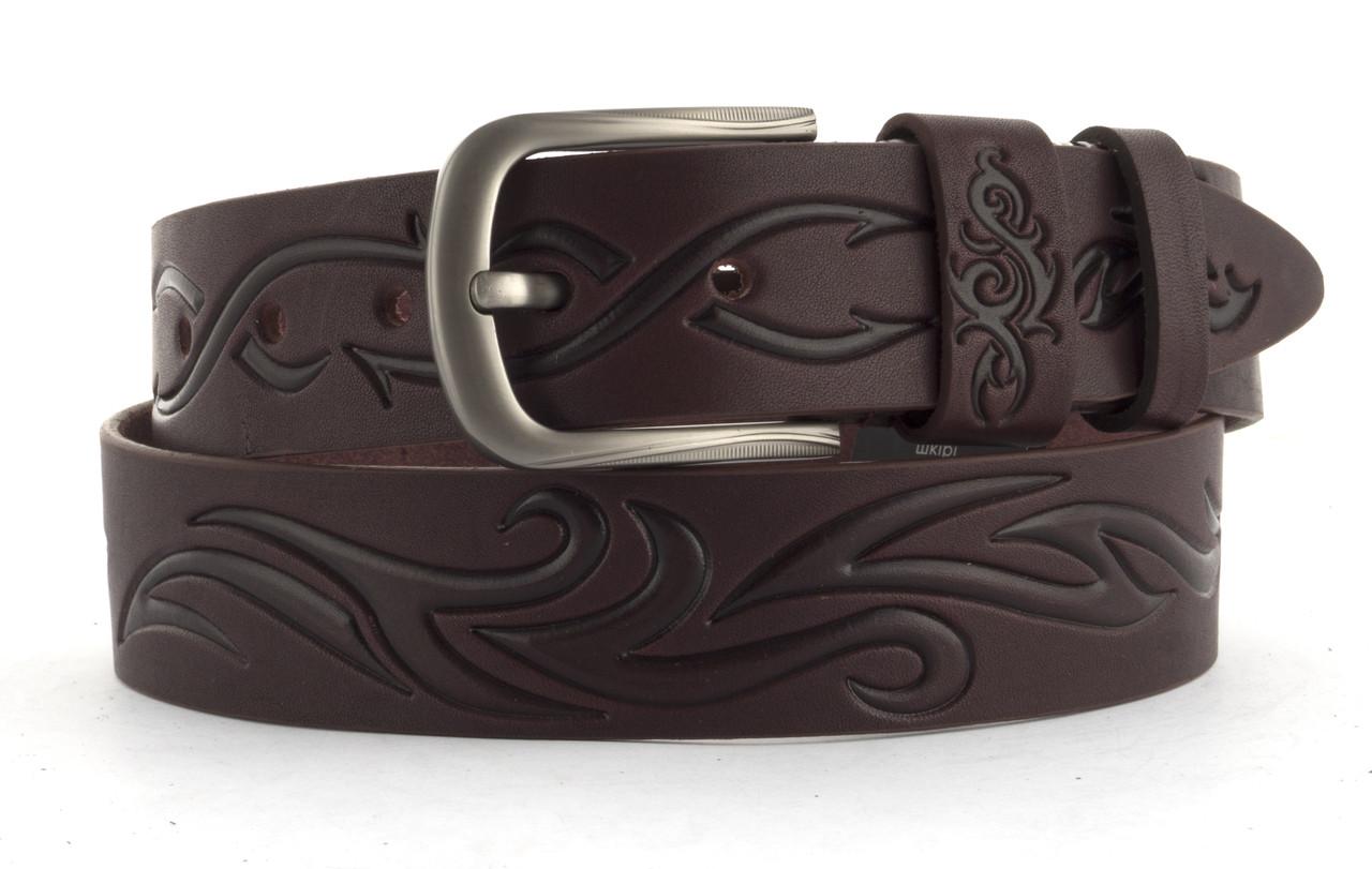 Качественный кожаный мужской ремень высокого качества MASCO 4 см Украина (103629) бордовый