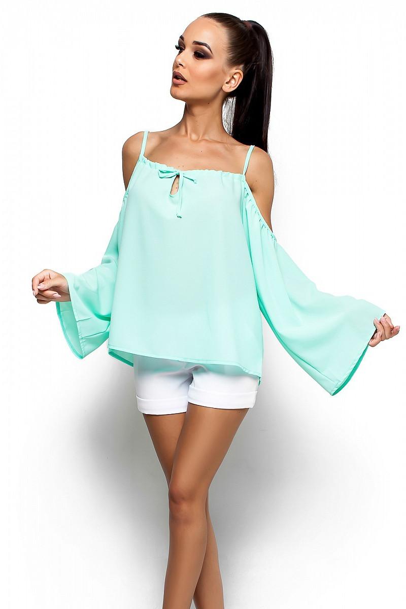(S-M) Жіноча вільна ментолова блузка Yana