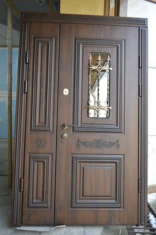 Двери уличные, модель 6, PRESTIGE 1170х2050, стеклопакет, ковка, объемные элементы и патина, фото 2