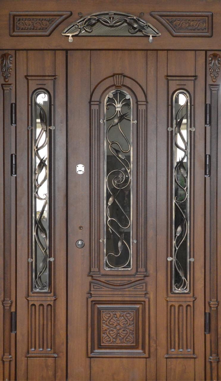 Двери уличные, PRESTIGE 1170*2050, модель 20-51, полуторная, коробка 90 мм, карниз с зеркалом