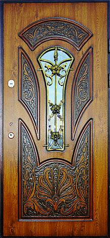 Двери уличные, модель 56 Премиум, 970*2050, гнутый профиль, коробка110 мм, VINORIT, накладки по 16 мм, MOTTURА, фото 2