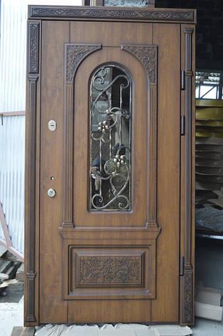 Двери уличные, модель 87 Премиум, 970*2050, коробка 110 мм, объемные элементы, 3D фрезеровка и патина, фото 2