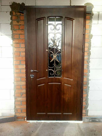 Двери уличные, модель 90 PRESTIGE, 970*2050, коробка 110 мм, KALE, накладки 16 мм, ковка, стеклопакет, фото 2