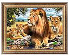 Алмазная вышивка семья львов на отдыхе 40х30 см, фото 4