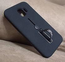 Противоударная накладка Silicon Case с кольцом Samsung J2 2018 J250 черная