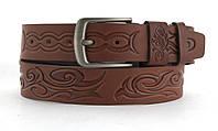 Качественный кожаный мужской ремень высокого качества MASCO 4 см Украина (103632) рыжий