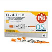 Шприц инсулиновый INSUMED 0,5 мл., с иглой 31G x 8 (0,25 х 8 мм), 30 шт/уп.
