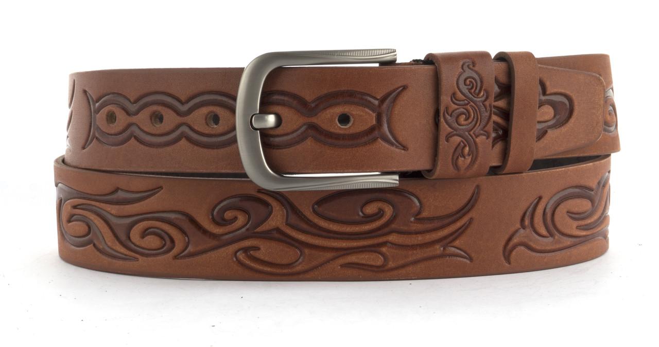 Качественный кожаный мужской ремень высокого качества MASCO 4 см Украина (103633) рыжий