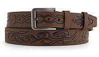 Качественный кожаный мужской ремень высокого качества MASCO 4 см Украина (103634) рыжий