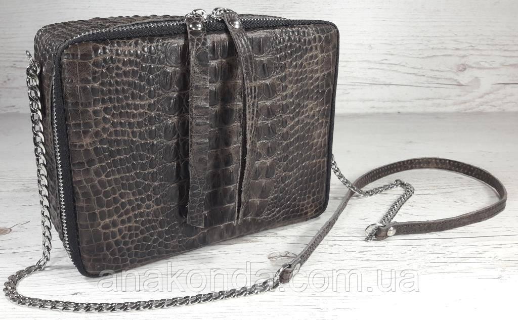 66-кр Натуральная кожа Коричневая сумка женская кросс-боди через плечо Кожаная сумочка Сумка кожаная рептилия