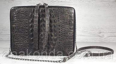 66-4 Натуральная кожа, Сумка женская кросс-боди, коричневая тиснение крокодил рептилия, фото 2