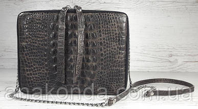 66-кр Натуральная кожа Коричневая сумка женская кросс-боди через плечо Кожаная сумочка Сумка кожаная рептилия, фото 2