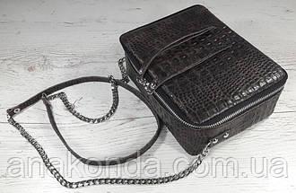 66-кр Натуральная кожа Коричневая сумка женская кросс-боди через плечо Кожаная сумочка Сумка кожаная рептилия, фото 3