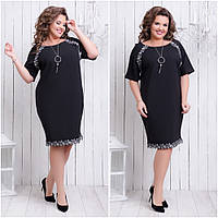 159647db335 Строгое черное платье короткий рукав креп-дайвинг+кружево Размер