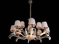 Люстра классическая с светодиодной подсветкой  рожков серебро/золото 8348-12