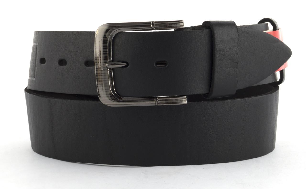 Качественный кожаный мужской ремень высокого качества MASCO 4.5 см Украина (103635) черный
