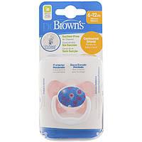 Ортодонтическая пустышка Dr. Brown's PreVent Butterfly Shield, уровень 2 6-12 м-розовая 1 шт/упак