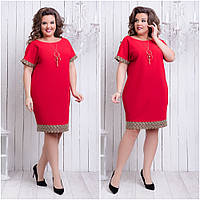 d7698639ef6 Нарядное комбинированное платье короткий рукав креп-дайвинг +кружево Размер