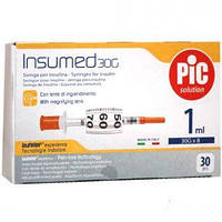 Шприц инсулиновый INSUMED 1 мл с иглой 30G (0,30 х 8 мм), 30 шт/уп.