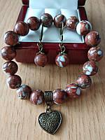 Комплект из натурального коричнево-белого авантюрина с подвеской сердце - браслет и серьги