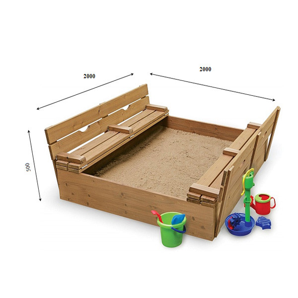 Дитяча пісочниця з кришкою 200 х 200 см
