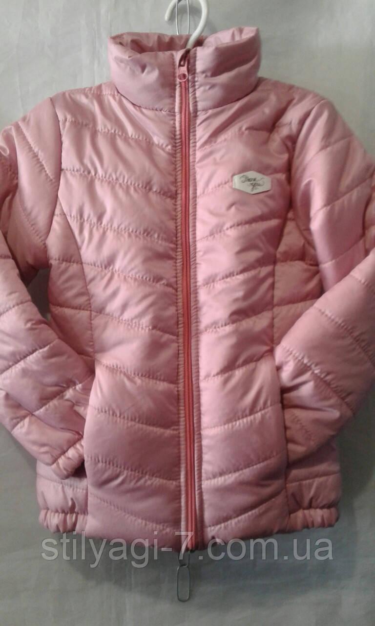 Куртка демисезонная для девочек на 6-10 лет розового цвета оптом