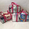 Набор из 3 прозрачных сумок в роддом Mommy Bag сумка - S,M,L - Красные, фото 7