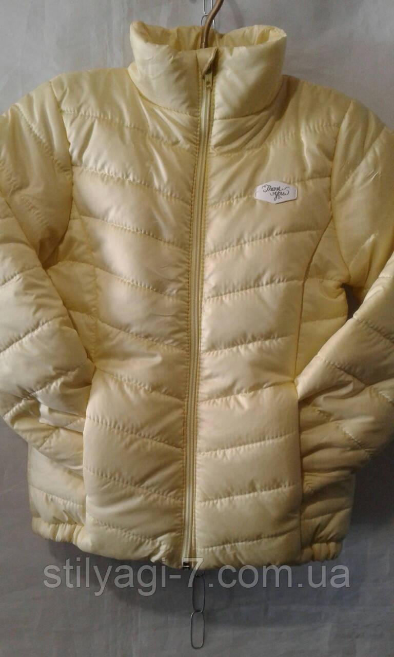 Куртка демисезонная для девочек на 6-10 лет желтого цвета оптом