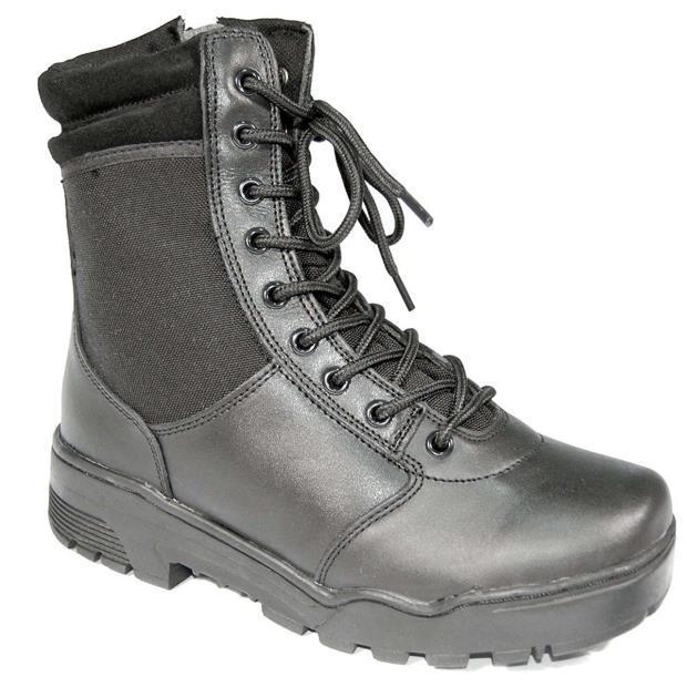 Ботинки MIL-TEC тактические кожа/кордура на молнии чёрные 12822000  черный, 40 (12822000-40)