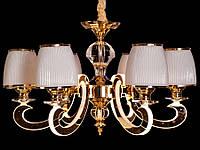 Люстра классическая с светодиодной подсветкой  рожков серебро/золото 8342-6